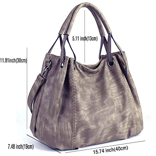 Ladies PU L Handbags Handbags Light PU JOYSON Leather Bags Large W Crossbody Hobo 40cm 19cm Shoulder Women H Bags Coffee Leather Capacity 30cm 87xxZzq
