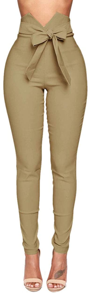 Luiyy® Mujer Flacas Pantalones Vaqueros con Cordón Lazo Corbata ...