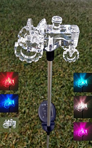 Clear Acrylic Tractor Solar Yard Stick Color Change Lights
