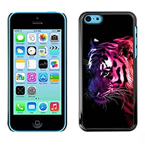 Qstar Arte & diseño plástico duro Fundas Cover Cubre Hard Case Cover para Apple iPhone 5C ( Tiger Neon Colors Stripes Wild Cat Feline Animal)