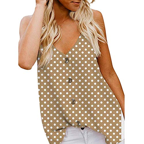 Ladies Summer Polka Dot Shirt Tops Womens v-Neck Sleeveless Strap Vest Blouse Loose Casual Beach Party Camis (Khaki, ()