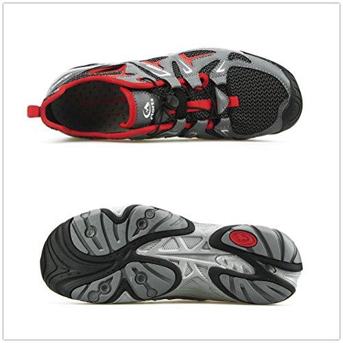 Clorts Uomo Punta Chiusa Anfibio Sandali Da Trekking Atletici Nautica Scarpe Da Tennis Aqua Sneaker 3h027 Grigio W / Rosso