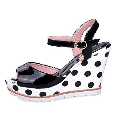 YE Damen Keilabsatz Lack Sandalen Ankle Strap Peep Toe High Heels Plateau mit Riemchen 11cm Absatz Schuhe Schwarz