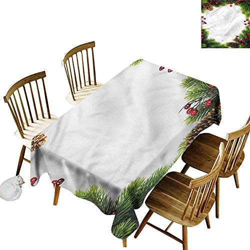 """home1love Resistant Table Cover Christmas Xmas Frame Pine Cones Table Cover for Dining 60"""" W x 90"""" L"""