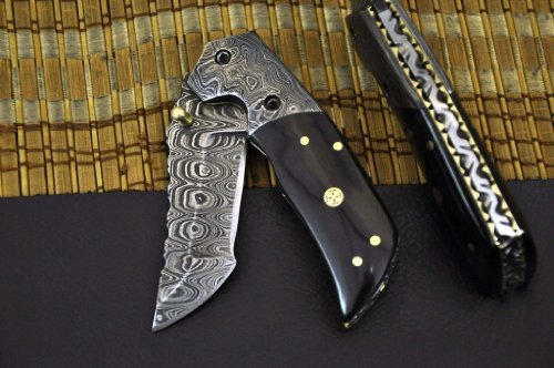 """Massive Sale"""" Custom Damascus Handmade Folding Knife with Liner Lock and Comes with Genuine Leather Sheath. Top Quality, Outdoor Stuffs"""