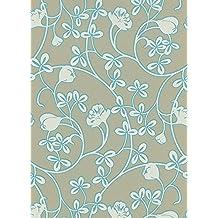 Glossy - Scandinavian Air Traditional Floral Flower Green Wallpaper Sample