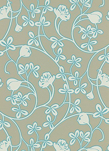 (Erismann Glossy - Scandinavian Air Traditional Floral Flower Green Wallpaper Roll)