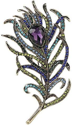 女性のブローチ、葉の形の合金のエレガントなラインストーンの服のドレスブローチジュエリー用ピンブローチ