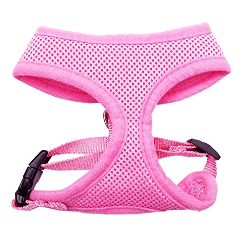 FUNPET Soft Mesh Dog Harness No Pull Comfort Padded Vest for Small Pet Cat and Puppy Pink XS