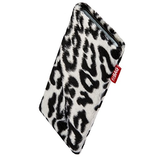 fitBAG Bonga Snow Leopard Custom Tailored Sleeve for Motorola K1 KRZR. Fine Imitation Fur Pouch with Integrated Microfibre Lining for Display Cleaning - Krzr K1 Silicone Skin Case
