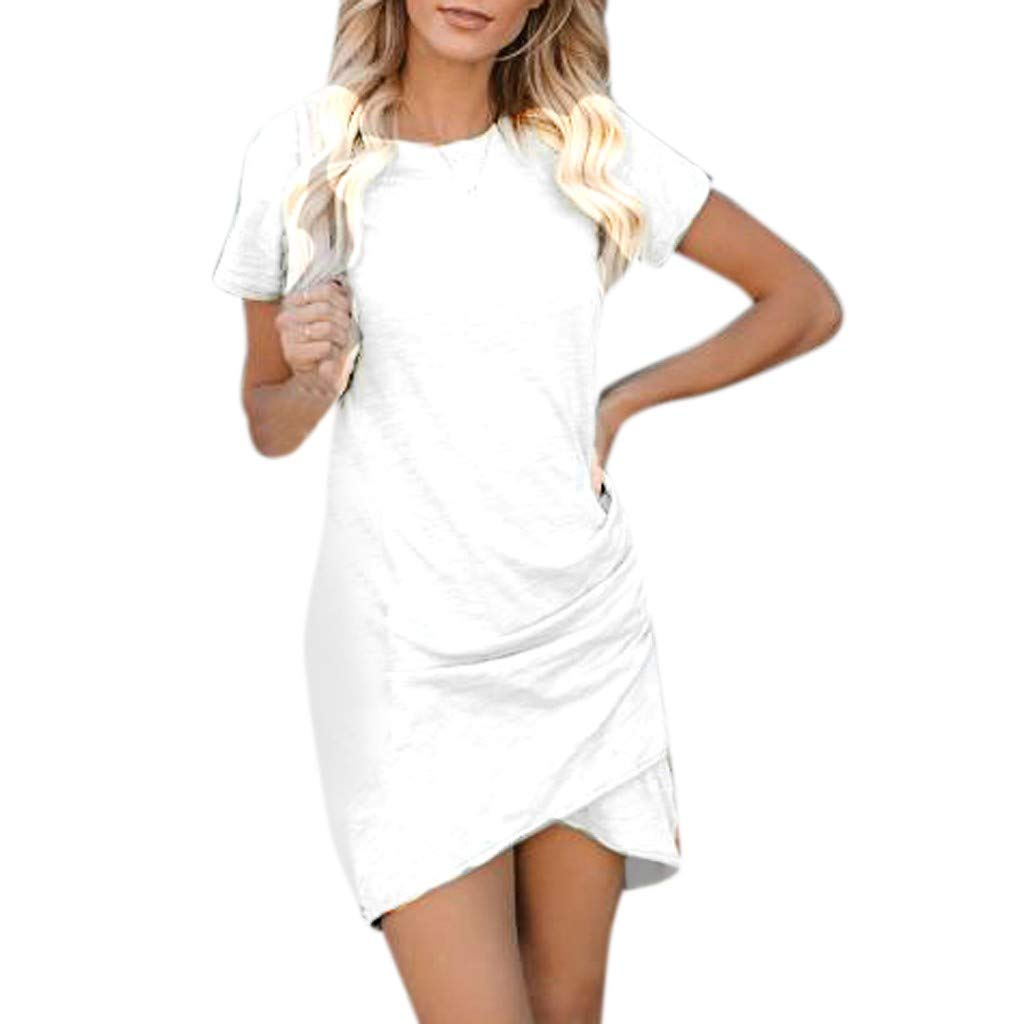 Womens Dress Shirts Summers Sexy Wrap Dress Short Sleeve Solid Casual Skirt Sun Mini Dress White