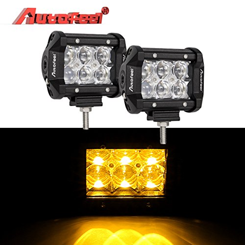 Led Light Bar, Autofeel 4 inch 36W Driving Lights Emergency Lights Fog Light Snow Lights Flashing Amber Light Spot Flood Off Road Lights for Pickup Truck Jeep ATV UTV Wrangler SUV Dodge Ram 4x4 Ford