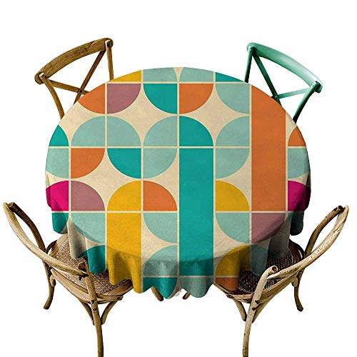Oncegod Anti-Fading Tablecloths Retro Pop Art Funky Unusual Geometric Forms Mosaic Style Old Fashioned Artistic Graphic Modern Minimalist 70 INCH Multicolor