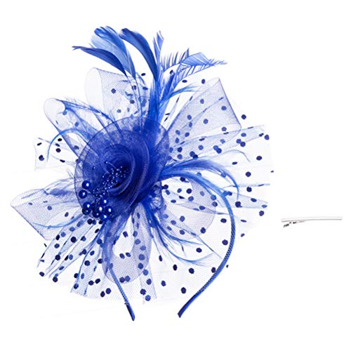 SAFERIN Fascinators Hat Sinamay Flower Mesh Feathers on a Headband and a Clip Tea Party Headwear for Girls and Women (TA8-Sapphire Blue) ()