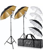 "Neewer® Flash Mount Three Umbrellas Kit (2) 33""/84cm White Soft/Silver Reflective/Gold Reflective Umbrella for Canon 430EX II,580EX II,Nikon SB600 SB800,Yongnuo YN 560,YN 565,Neewer TT560,TT680"