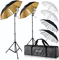 "Neewer® Flash Mount Three Umbrellas Kit (2) 33""/84cm White Soft/Silver Reflective/Gold Reflective Umbrella for Canon..."