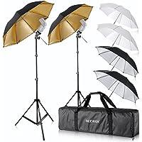 Neewer Flash Mount Three Umbrellas Kit (2)33/84cm White Soft/Silver Reflective/Gold Reflective Umbrella for Canon 430EX II,580EX II,Nikon SB600 SB800,Yongnuo YN 560,YN 565,Neewer TT560,TT680