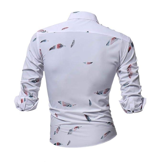 Camisa casual Otoño de hombre,Sonnena ❤ La camisa impresa de los hombres de la personalidad Camisa estampada de manga larga delgada casual Blusa ...