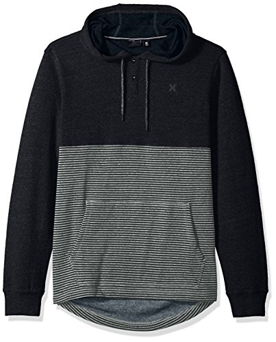 Hurley Sweatshirt Mens (Hurley Men's Textured with Stripe Pullover Hoodie, Black, L)