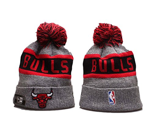 Galleon - New Era Chicago Bulls Grey Sport Beanie Wintry Pom Knit Skull Cap c5ce6868c8e