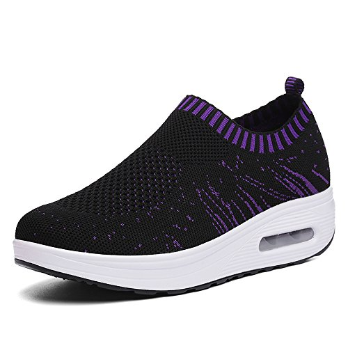 Enllerviid Vrouwen Comfort Platform Walking Sneakers Slip-on Shape Ups Fitness Toning Schoenen Zwart