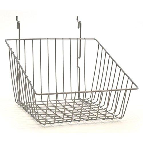 Case of 8 Powder Coat chrome sloping basket 12''w x 12''d x 8''h Back x 4''h Front
