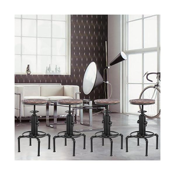 Festnight Tabouret de Style Retro en Bois réglable en Hauteur 4PCS Chaise de Cuisine Industrielle 42 * 42 * 58-73cm