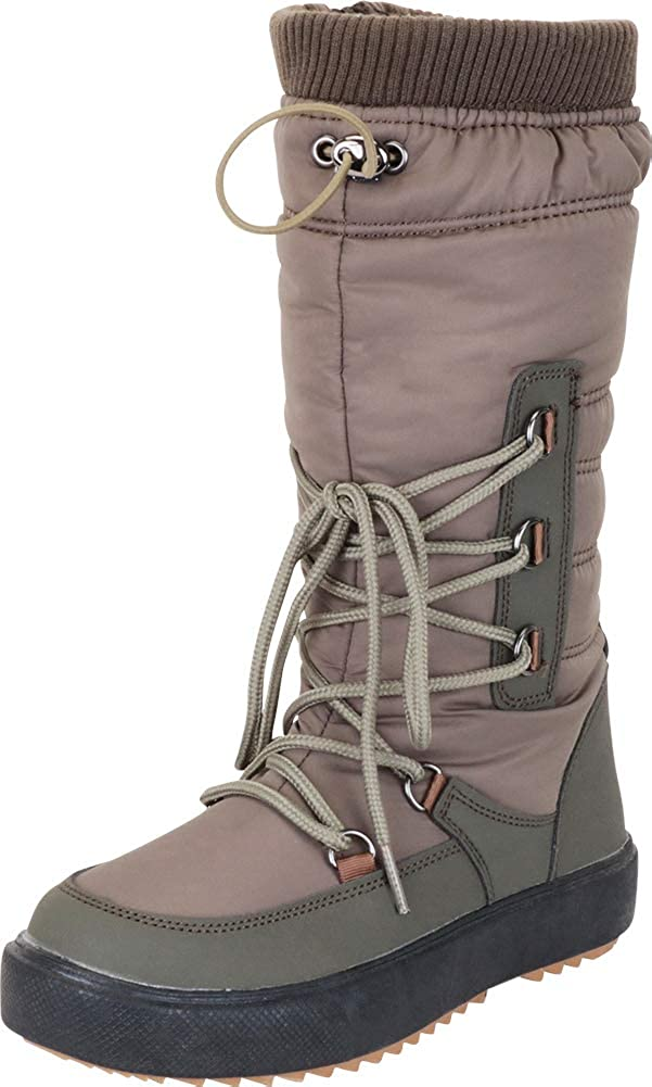 Olive Cambridge Select Women's Quilted Puffer Drawstring Lace-Up Mid-Calf Winter Snow Boot