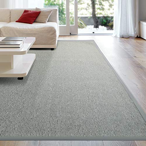 iCustomRug Zara Synthetic Sisal Collection Rug and Runners, Softer Than Natural sisal Rug, Stain Resistant & Easy to Clean Beautiful Border Rug in Silver Grey 8 Feet x 10 Feet (8' x 10')