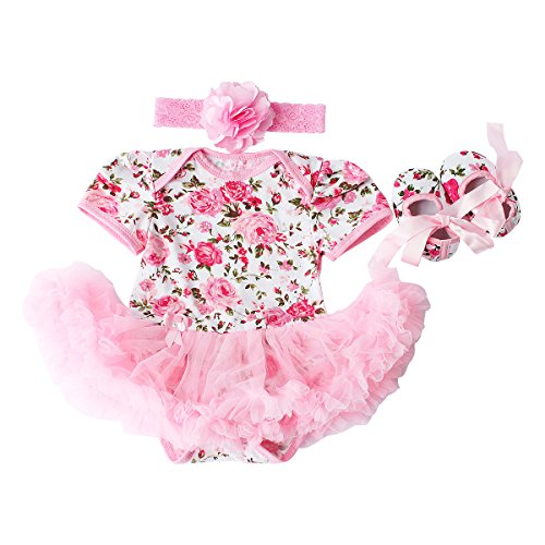 Baby Girls 3 Piece Sets Romper dress Shoes and Headband Rose Flower Outfits Clothes Pink S:3-6Months (Shorts Three Piece Cotton)