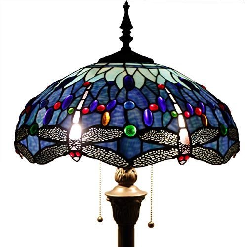 Tiffany Style Floor Standing Lamp 64 Inch Tall Blue Stained Glass Shade Crystal Bead Dragonfly 2 Light Pull Chain Antique Base for Living Room Bedroom Coffee Table S004 WERFACTORY (Floor Lamp With Beads)