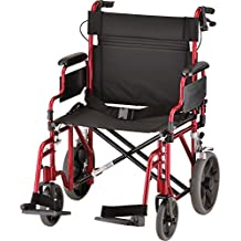 """NOVA Medical Products 22"""" Heavy Duty Transport Wheelchair, Red"""