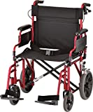 "NOVA Extra Wide 22"" Heavy Duty Transport Chair with Locking Hand Brakes"