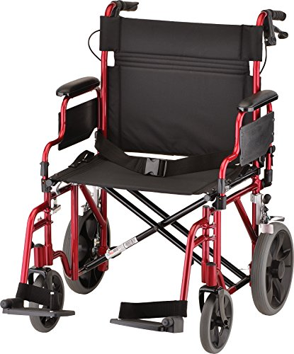 "NOVA Extra Wide 22"" Heavy Duty Transport Chair with Locking Hand Brakes, Removable & Flip Up Arms for Easy Transfer, 400 lb Weight Capacity, Red"