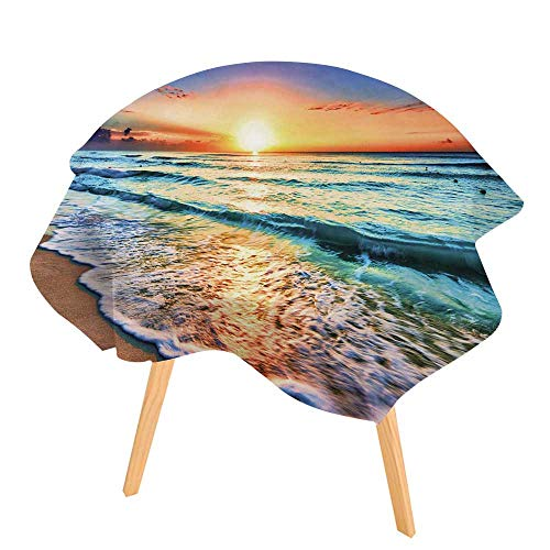 (PINAFORE Easy-Care Cloth Tablecloth Sunrise Over Beach in Cancun Great for Buffet Table, Parties, Holiday Dinner 50