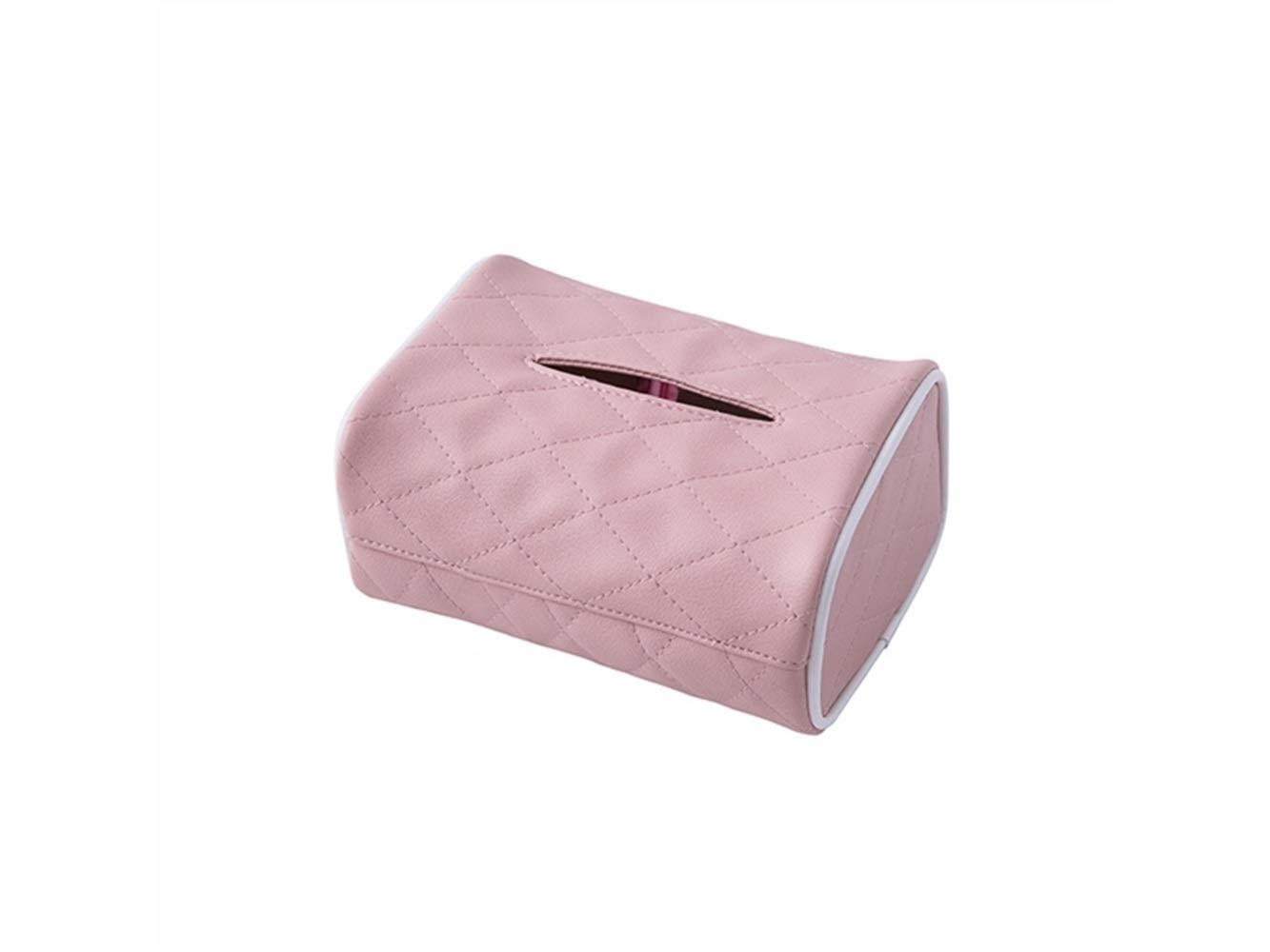 JwlqAy Linda Caja de pañuelos de Papel Funda de servilleta de Papel de Cuero portátil para el hogar y el automóvil (Rosa) (Color : Pink)