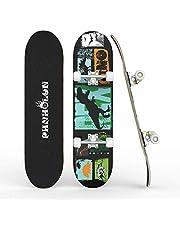 """Skateboards voor beginners, 31 """"x 8"""" Compleet Skateboard met ABEC-7 lager & 95A Wiel, 8 laags Hard Maple Deck voor Kids Tieners & Volwassenen, Dubbel Kick Deck Concave Cruiser Trick Skull Skateboard, Load 2200lbs"""