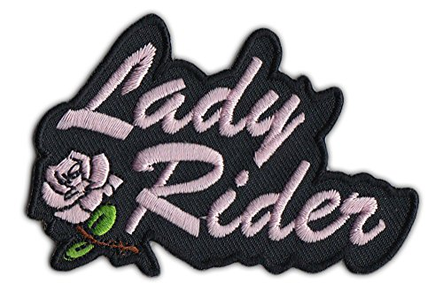 Motorcycle Biker Jacket Embroidered Patch - Lady Rider w/Pink Rose - Female, Lady Biker