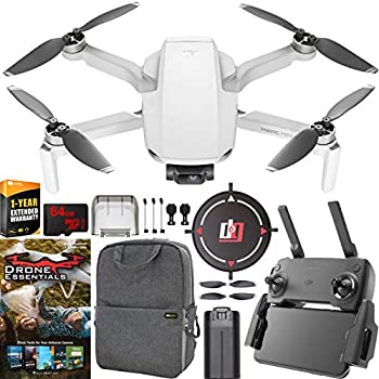 DJI Mavic Mini Drone Quadcopter Everyday FlyCam CP.MA.00000120.01 with Remote Control and 1 Year Warranty Extension Essential Bundle with Backpack, Landing Pad, 64GB High Speed SDXC Card and Software