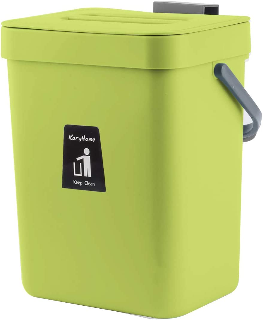 KaryHome Compost Bin for Kitchen Counter, Hanging Small Trash Can with Lid Under Sink,1.3 Gallon Mountable Compost Bucket (Green): Kitchen & Dining