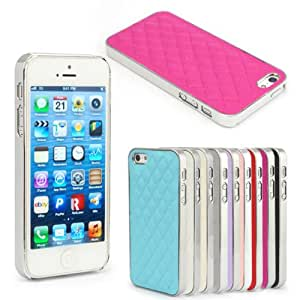 Great deal Quilted Leather Chrome Bumper Hard Back Case Cover For iPhone 5 5G 5Gs 5S