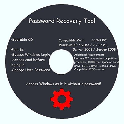 Window Password Recovery & Reset Disk - Window 32&64 bit Windows XP Home Edition SP2+, Vista, 7, 8, 8.1, Server 2003, Server 2008