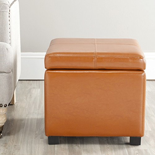 Metro Shop Broadway Saddle Leather Storage Ottoman