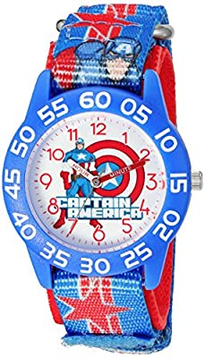 Marvel Boy's 'Captain America' Quartz Plastic and Nylon Watch, Color:Blue (Model: W003211) from eWatchFactory