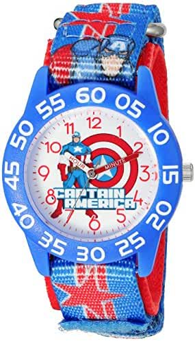 Marvel Boy's 'Captain America' Quartz Plastic and Nylon Automatic Watch, Color:Blue (Model: W003211)