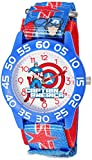 Marvel Boy's 'Captain America' Quartz Plastic and Nylon Watch, Color:Blue (Model: W003211)