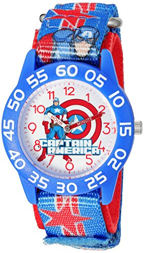 (Marvel Boy's 'Captain America' Quartz Plastic and Nylon  Watch, Color:Blue (Model: W003211))