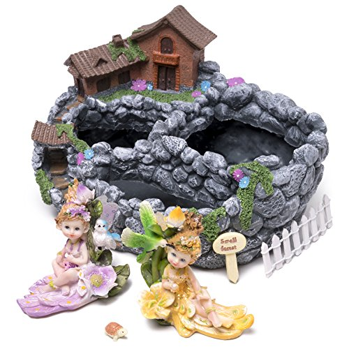 Kenley Fairy Garden House Planter - Miniature Gardening Starter Set with Pot, Fairies & Accessories - Mini Potting Kit for Succulents Cactus Plants Flowers - Arts and Crafts Gift for Girls Kids (Little Girl Planter)