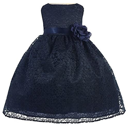 Little Baby Girls Lovely Floral Lace Cute Wedding Easter Flowers Girls Dresses Navy Size 12M