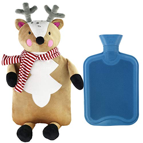 Bottle Reindeer - Athoinsu Reindeer Rubber Hot Water Bottle with Cute Brown Plush Animal Cover for Girls Women Children(Elk)